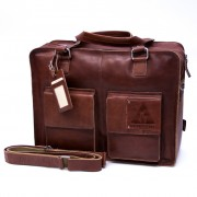 Laptoptas Two Pocket L - Cognac