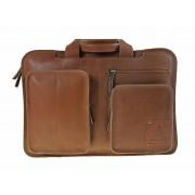 Laptoptas square pocket New - Cognac